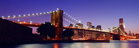 New York City Brooklyn Bridge panorama Royalty Free Stock Image