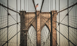 New York City - Brooklyn Bridge. The photo was taken in June, 2014 in New York City Stock Photo