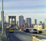 Brooklyn Bridge Traffic, New York USA. Afternoon traffic across the Brooklyn Bridge toward Manhattan stock images