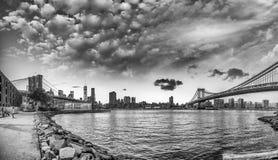 New York City. Brooklyn and Manhattan Bridge Panorama at Sunset Royalty Free Stock Photos