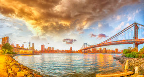 New York City. Brooklyn and Manhattan Bridge Panorama at Sunset Stock Image