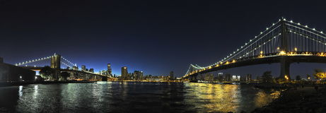 New-York City Brooklyn and Manhattan Bridges by night Stock Image