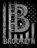 New York City, Brooklyn. Stylized American flag. Grunge backgrou. Nd. Typography, t-shirt graphics, poster fashion style Stock Image