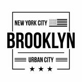 New York City, Brooklyn typography for t-shirt print. American flag in black color. T-shirt graphics. Vector Stock Image
