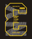 New York City Brooklyn, Vector. New York City Brooklyn, T shirt Graphic, Vector Image Royalty Free Stock Photography