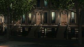 New York City brownstone homes at night 4K