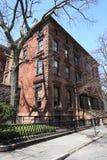 New York City brownstones at historic Brooklyn Heights neighborhood. BROOKLYN, NEW YORK - APRIL 11, 2017: New York City brownstones at historic Brooklyn Heights Royalty Free Stock Images