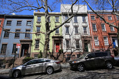 New York City brownstones at historic Brooklyn Heights neighborhood. BROOKLYN, NEW YORK - APRIL 11, 2017: New York City brownstones at historic Brooklyn Heights Stock Photo