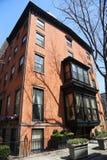 New York City brownstones at historic Brooklyn Heights neighborhood. BROOKLYN, NEW YORK - APRIL 11, 2017: New York City brownstones at historic Brooklyn Heights Royalty Free Stock Image