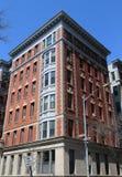 New York City brownstones at historic Brooklyn Heights neighborhood. BROOKLYN, NEW YORK - APRIL 11, 2017: New York City brownstones at historic Brooklyn Heights Stock Image