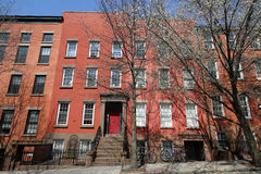 New York City brownstones at historic Brooklyn Heights neighborhood. Royalty Free Stock Photos