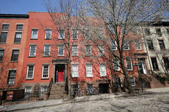 New York City brownstones at historic Brooklyn Heights neighborhood. Royalty Free Stock Images