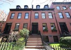 New York City brownstones at historic Brooklyn Heights neighborhood. BROOKLYN, NEW YORK - APRIL 11, 2017: New York City brownstones at historic Brooklyn Heights Royalty Free Stock Photo