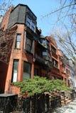New York City brownstones at historic Brooklyn Heights neighborhood. BROOKLYN, NEW YORK - APRIL 11, 2017: New York City brownstones at historic Brooklyn Heights Stock Photos