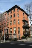 New York City brownstones at historic Brooklyn Heights neighborhood. BROOKLYN, NEW YORK - APRIL 11, 2017: New York City brownstones at historic Brooklyn Heights Stock Images