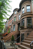 New York City brownstones at historic Prospect Heights neighborhood. BROOKLYN, NEW YORK - MAY 11, 2017: New York City brownstones at historic Prospect Heights Stock Image