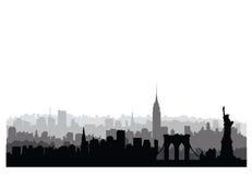 New York City buildings silhouette. American urban landscape. Ne. New York, USA skyline. NYC city silhouette with Liberty monument. American landmarks. Urban Stock Images