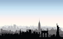 New York City buildings silhouette. American urban landscape. Ne Royalty Free Stock Photos