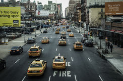 New York City - Cabs & Street View. This photo was taken in March, 2013 in New York City, USA Stock Photos