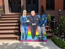 New York City. Cardboard cutout of Robert Mueller arresting President Donald Trump royalty free stock photos