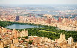 New York City and Central Park. An aerial view of the buildings and skyscrapers of mid-town Manhattan, New York City, New York around Central Park Royalty Free Stock Images