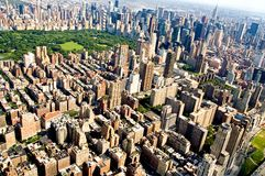 New York City and Central Park. An aerial view of the buildings and skyscrapers of mid-town Manhattan, New York City, New York around Central Park stock image