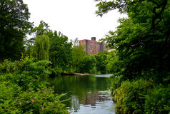 New York City from Central Park. View of Manhattan through Central Park in New York city, USA Stock Photos