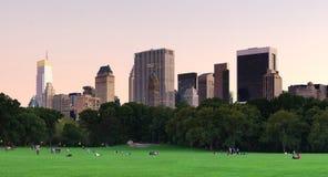 New York City Central Park au panorama de crépuscule Images libres de droits
