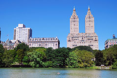 New York City Central Park with boat in lake Stock Photography