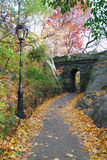 New York City Central park Stone bridge. Stone bridge in Autumn in New York City Central park Stock Photo
