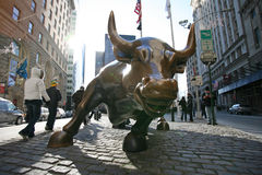 NEW YORK CITY  Charging Bull in Lower. NEW YORK CITY - JANUARY 01: The landmark Charging Bull in Lower Manhattan represents the strength and power of the Stock Photo