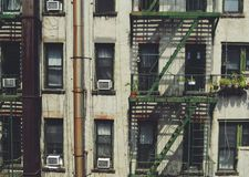 New York City Chinatown Tenement Apartment Building Fire Escape stock photography