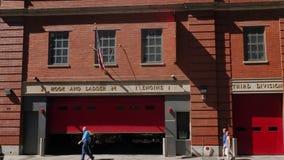 Daytime Establishing Shot of Fire Station in Manhattan stock video