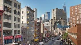 Daytime High Angle Establishing Shot of Manhattans Chinatown. 9385 NEW YORK CITY - Circa October, 2017 - A high angle morning establishing shot (DX) of stock footage