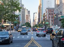 New York City, 2018: Rush hour traffic backs in the East Village. New York City, 2018: Rush hour traffic backs up along 3rd Avenue in the East Village of stock image