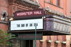 NEW YORK CITY - CIRCA 2017: Webster Hall displays a message on t Royalty Free Stock Photography