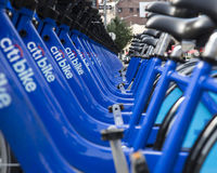 New York City Citibikes. A stand of New York City Citibikes, part of NYC mayor Michael Bloomberg's program to make NYC more bicycle friendly Stock Photography