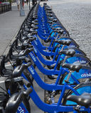 New York City Citibikes. A stand of New York City's Citibikes, an initiative of Mayor Michael Bloomberg Stock Images