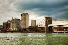 New York City cityscape with Brooklyn bridge Royalty Free Stock Images