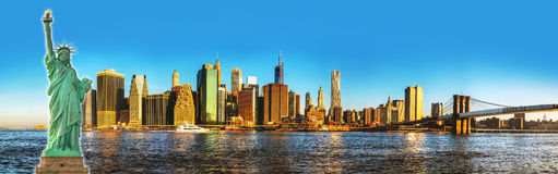 New York City cityscape with Brooklyn bridge Stock Photo