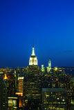 New York City cityscape i natten Royaltyfri Foto
