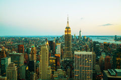 New York City cityscape in the night Stock Photography