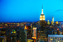 New York City cityscape in the night Stock Images