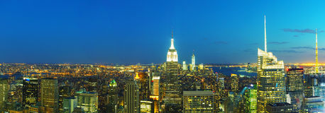 New York City cityscape in the night Stock Image