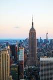 New York City cityscape på solnedgången Royaltyfria Bilder