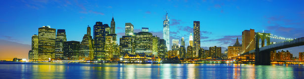 New York City cityscape panorama at sunset Stock Image