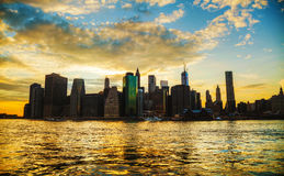New York City cityscape at sunset Royalty Free Stock Photo