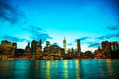 New York City cityscape at sunset Stock Photography