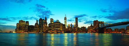 New York City cityscape at sunset Royalty Free Stock Photography