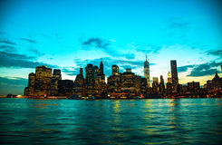 New York City cityscape at sunset Stock Photos
